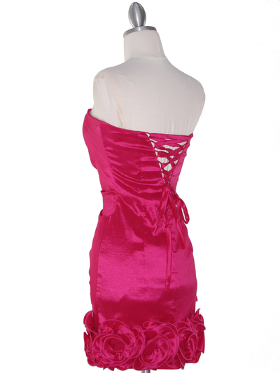 8118 Teffeta Cocktail Dress with Rosette Hem - Fuschia, Back View Medium