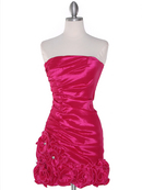 8118 Teffeta Cocktail Dress with Rosette Hem, Fuschia