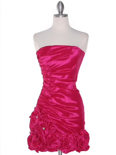 8118 Teffeta Cocktail Dress with Rosette Hem - Fuschia, Front View Medium