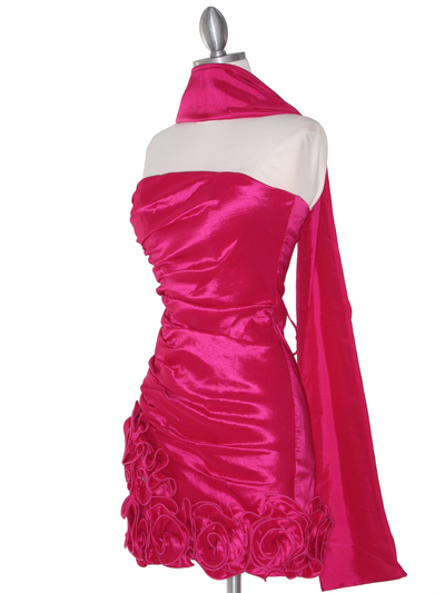8118 Teffeta Cocktail Dress with Rosette Hem - Fuschia, Alt View Medium