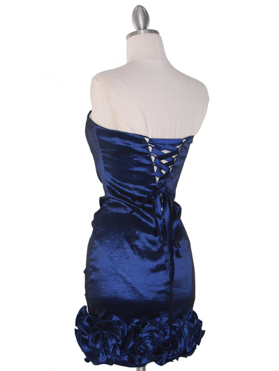 8118 Teffeta Cocktail Dress with Rosette Hem - Navy, Back View Medium
