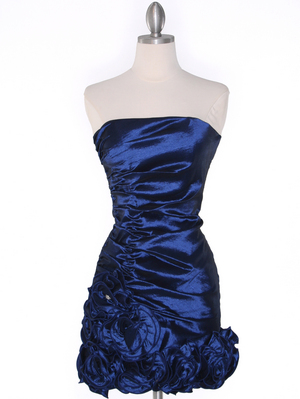 8118 Teffeta Cocktail Dress with Rosette Hem, Navy