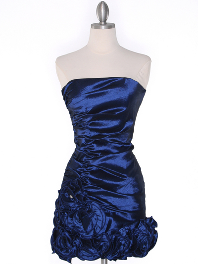 8118 Teffeta Cocktail Dress with Rosette Hem - Navy, Front View Medium
