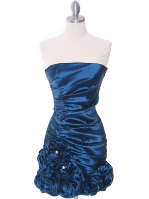 8118 Teal Taffeta Cocktail Dress with Rosette Hem, Teal