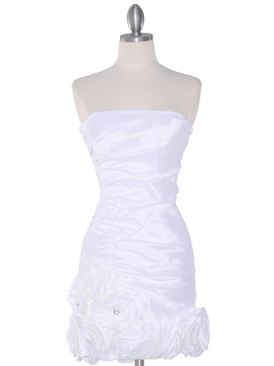 8118 Teffeta Cocktail Dress with Rosette Hem - White, Front View Medium