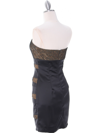 8137 Black/Gold Sequin Party Dress - Black Gold, Back View Medium