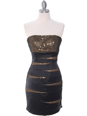 8137 Black/Gold Sequin Party Dress, Black Gold