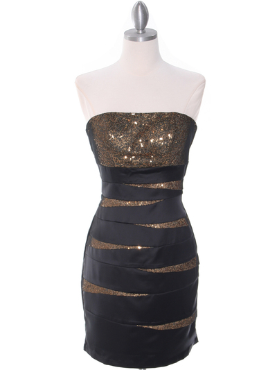8137 Black/Gold Sequin Party Dress - Black Gold, Front View Medium