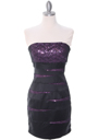 8137 Black/Purple Sequin Party Dress - Black Purple, Front View Thumbnail
