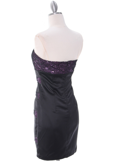 8137 Black/Purple Sequin Party Dress - Black Purple, Back View Medium