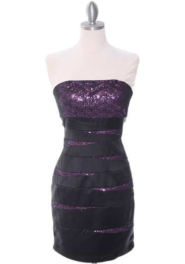 8137 Black/Purple Sequin Party Dress - Black Purple, Front View Medium