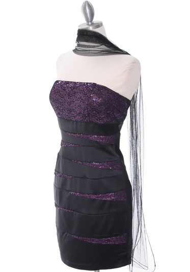 8137 Black/Purple Sequin Party Dress - Black Purple, Alt View Medium