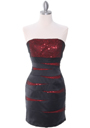 Black/Red Sequin Cocktail Dress - Front Image