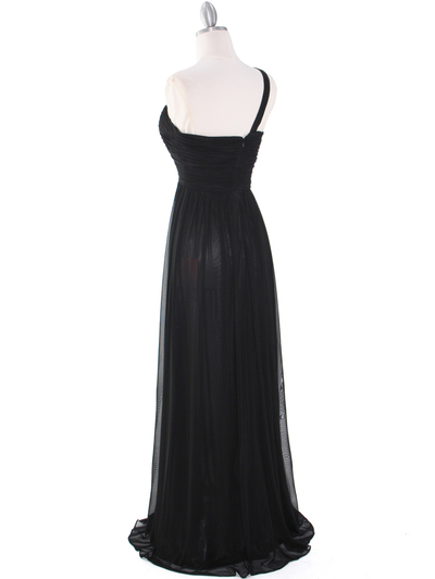 8155 One Shoulder Asymmetrical Evening Dress with Dazzling Pin - Black, Back View Medium