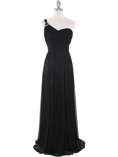 8155 One Shoulder Asymmetrical Evening Dress with Dazzling Pin - Black, Front View Medium