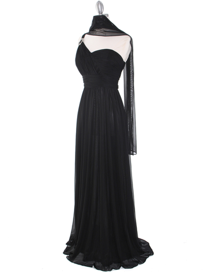8155 One Shoulder Asymmetrical Evening Dress with Dazzling Pin - Black, Alt View Medium