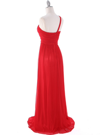 8155 One Shoulder Asymmetrical Evening Dress with Dazzling Pin - Red, Back View Medium