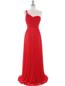 8155 One Shoulder Asymmetrical Evening Dress with Dazzling Pin, Red