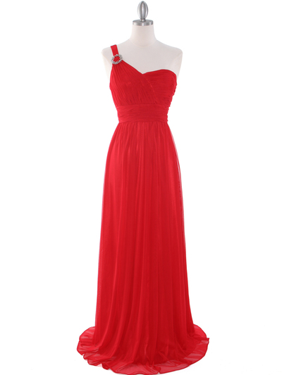 8155 One Shoulder Asymmetrical Evening Dress with Dazzling Pin - Red, Front View Medium
