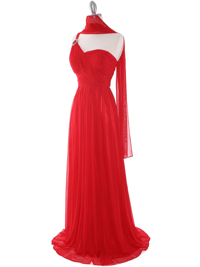 8155 One Shoulder Asymmetrical Evening Dress with Dazzling Pin - Red, Alt View Medium