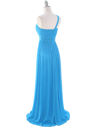 8155 One Shoulder Asymmetrical Evening Dress with Dazzling Pin - Turquoise, Back View Medium