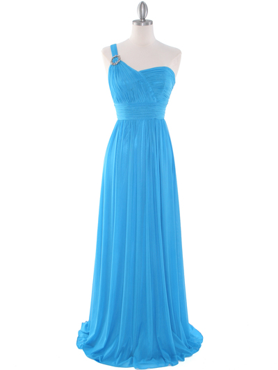 8155 One Shoulder Asymmetrical Evening Dress with Dazzling Pin - Turquoise, Front View Medium