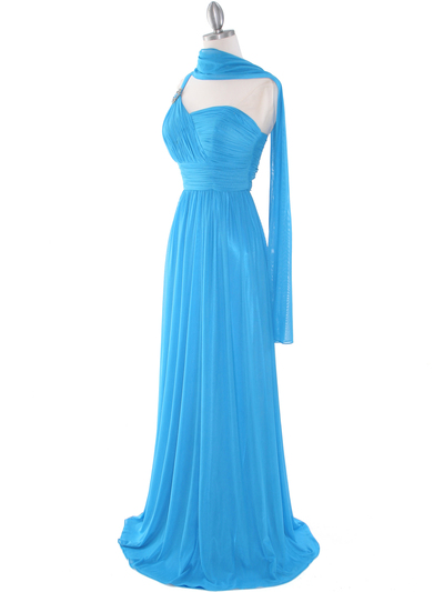 8155 One Shoulder Asymmetrical Evening Dress with Dazzling Pin - Turquoise, Alt View Medium