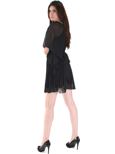 8158 Pleated One Shoulder Cocktail Dress - Black, Back View Medium
