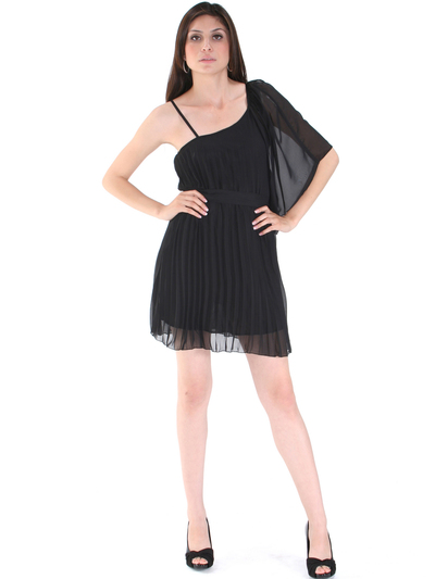 8158 Pleated One Shoulder Cocktail Dress - Black, Front View Medium