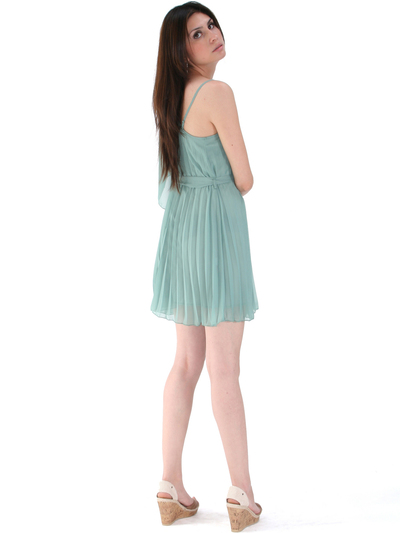 8158 Pleated One Shoulder Cocktail Dress - Olive, Back View Medium