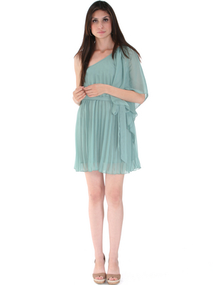 Pleated One Shoulder Cocktail Dress - Front Image