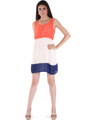 8162 Orange Tank Dress - Orange, Front View Thumbnail