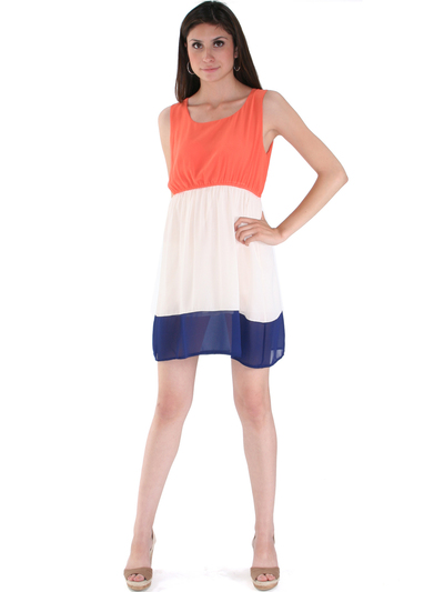 8162 Orange Tank Dress - Orange, Front View Medium