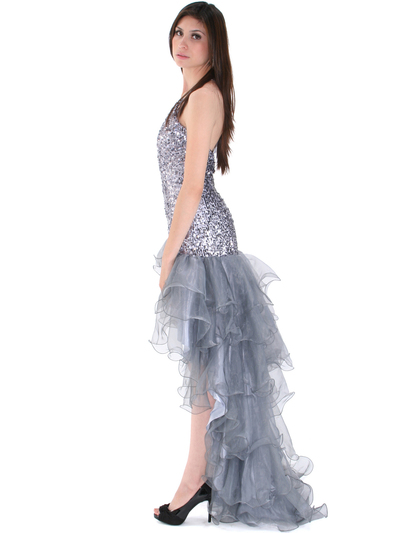 8163 High Low Sequin Prom Dress - Silver, Back View Medium