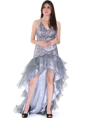 8163 High Low Sequin Prom Dress, Silver