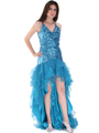 8163 High Low Sequin Prom Dress - Teal, Front View Thumbnail