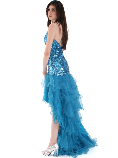 8163 High Low Sequin Prom Dress - Teal, Back View Medium