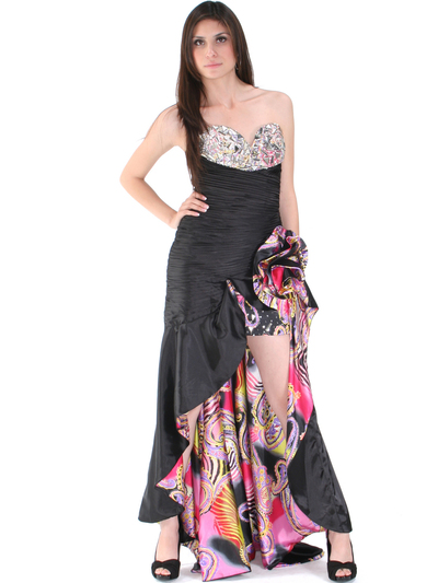 8258 Black Jeweled High Low Evening Dress - Print, Front View Medium