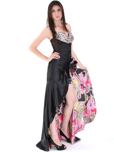 8258 Black Jeweled High Low Evening Dress - Print, Alt View Medium