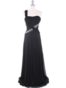 Black One Shoulder Pleated Evening Dress