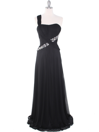 8312 Black One Shoulder Pleated Evening Dress - Black, Front View Medium