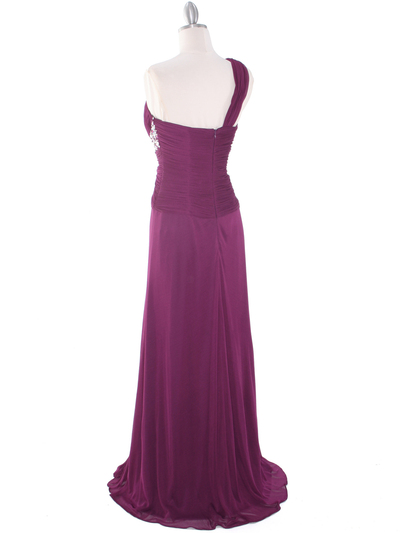 8312 Plum One Shoulder Pleated Evening Dress - Plum, Back View Medium