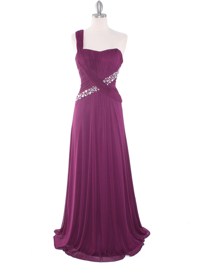 8312 Plum One Shoulder Pleated Evening Dress - Plum, Front View Medium