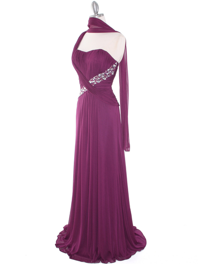 8312 Plum One Shoulder Pleated Evening Dress - Plum, Alt View Medium