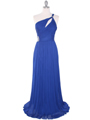 8323 Single Shoulder Pleated Mesh Evening Dress - Royal Blue, Front View Thumbnail