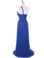 8323 Single Shoulder Pleated Mesh Evening Dress - Royal Blue, Back View Thumbnail