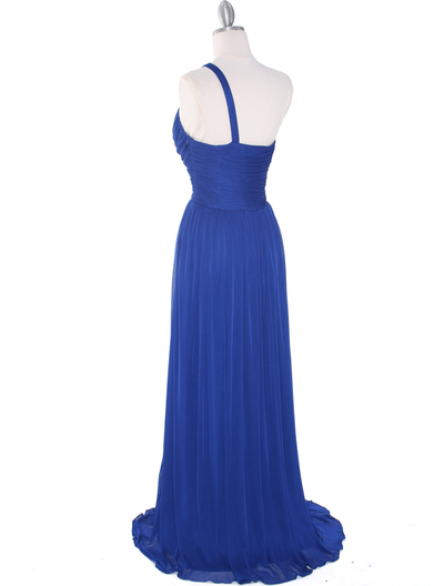 8323 Single Shoulder Pleated Mesh Evening Dress - Royal Blue, Back View Medium