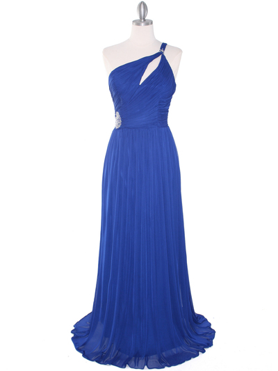 8323 Single Shoulder Pleated Mesh Evening Dress - Royal Blue, Front View Medium