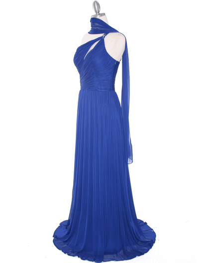 8323 Single Shoulder Pleated Mesh Evening Dress - Royal Blue, Alt View Medium