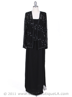 8324 Black Beaded Mock Two Piece Dress with Jacket, Black